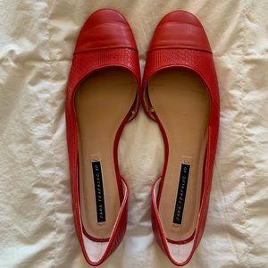 ZARA- Red Asymmetrical Ballet Flats